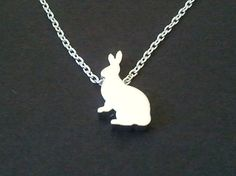 Tiny Rabbit Pendant CharmNecklace  cute small tiny by LaLaCrystal,