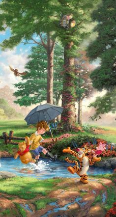 Umbrella Painting, Umbrella Art, Winnie The Pooh Quotes, Disney Winnie The Pooh, Disney Rooms, Disney Art, Disney Wallpaper, Cartoon Wallpaper, Pooh Bear