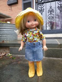 My Friend Mandy wearing homemade shirt, purchased skirt, and vintage hat and boots