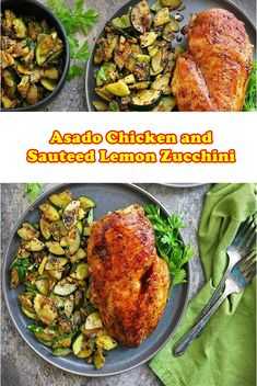 Asado Chicken and Sauteed Lemon Zucchini  A wholesome chicken recipe! This skillet lemon parmesan bird with zucchini and squash is a super smooth, amazing flavorful, one pan bird and veggie recipe every body within the circle of relatives will love!  My brother, sister and mother-in-law all have gardens (i'm failing this 12 months, in the future i need to make time a develop a actual deal garden.  #crockpot #crockpaotmeals #easycrockpotrecipes #Amazing