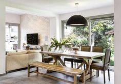 Halamish -Villa at Hasharon. Dining Bench, Dining Rooms, Villa, Interior Design, Kitchen, House, Furniture, Space, Home Decor
