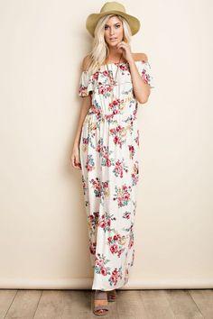Off Shoulder Floral Print Maxi Dress - Natural Belle Boutique, Floral Print Maxi Dress, Sleepwear Women, Floral Prints, Legs, Shoulder, Natural, Dresses, Fashion