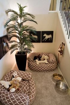 """Dog Room Under the Stairs. Too cute! Beau and all my future fur babies will have their own little """"home"""""""