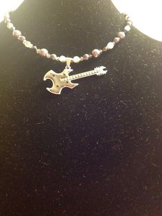 Handmade Silvertone rhinestone beaded guitar necklace