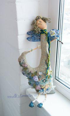 Коллекционные куклы ручной работы. Ярмарка Мастеров - ручная работа цветочная light blue. Handmade.