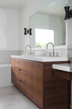 Navy Interior Design Los Angeles Master Bath Walnut Vanity Caesarstone Countertop Calacatta