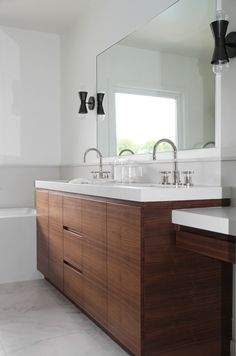 Navy Interior Design Los Angeles Master Bath Walnut Vanity Caesarstone Countertop Calacatta