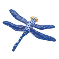 Herend Hand Painted Porcelain Figurine of Dragonfly, in  Sapphire Blue Fishnet and Sapphire Wings w Gold Accents.