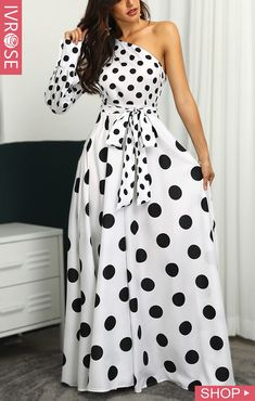 One Shoulder Dots Print Belted Maxi Dress Girl Fashion, Fashion Outfits, Fashion Site, Dress Fashion, Latest Fashion, Casual Dresses, Summer Dresses, Maxi Dresses, French Girl Style