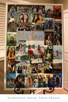 We needed more space on our graduation senior table for photos so we found an old poster frame, spray painted it, and reared a photo collage. This photo collage poster worked great next to the senior table. Ideas Collage, Collage Design, Graduation Party Planning, Graduation Party Decor, Graduation Ideas, Grad Parties, Photos Colage, Birthday Photo Collage, Collages