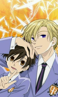 Ouran Higschool Host Club: Tamaki and Haruhi.
