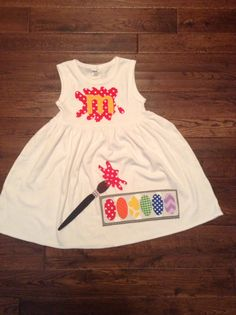 Back to School Dress, Paint Palette Applique,-Toddler Girl Personalized dress, you choose color and sleeve length by TheHeartCreations on Etsy https://www.etsy.com/listing/191923732/back-to-school-dress-paint-palette