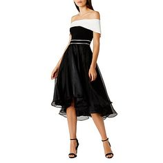 This beautiful dress is an elegant show stopper. The Carvina bardot midi dress features a beautiful monochrome bardot neckline that flows gracefully down into the statement skirt. The subtly cinched in waist creates a modern look whilst the high low skirt creates exaggerated fullness and dramatic flaring. This dress measures 100cm from centre neck back to hem. Height of model shown: 5ft 9inches/175cm. Model wears: UK size 8.