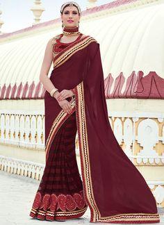 Buy Intricate Embroidered Work Wine Faux Chiffon Classic Designer Saree  #sarees #saree #sari #designersaree #sareebuzzlove #sareebuzz #weddingsarees #weddingfashion
