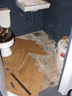 Herringbone floor by cutting down peel&stick tiles