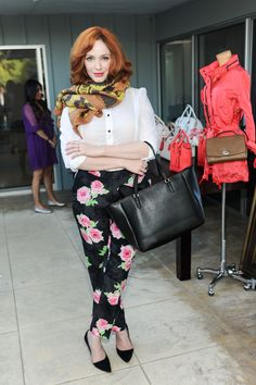 Spotted in Coach: Christina Hendricks with the Saffiano City Tote