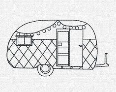 Retro Camper Machine Embroidery Pattern Design by KatieLDesigns