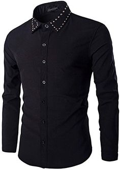 jeansian Men's Fashion Slim Fit Long Sleeve Dress Shirt Black M Long Sleeve Fitted Dress, Long Sleeve Shirts, Stylish Shirts, Casual Shirts, Suit Fashion, Mens Fashion, Mens Shirt Pattern, Dashiki For Men, Mens Designer Shirts