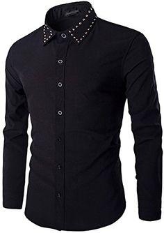 5f653bbfe03 jeansian Men s Fashion Slim Fit Long Sleeve Dress Shirt 84K0 Black M at  Amazon Men s Clothing store