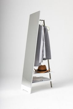 Interesting Clothes Hanger with Floor Mirror for Bedroom