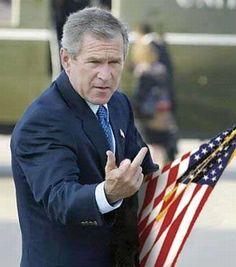 george bush middle finger