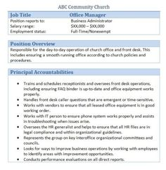 Following Is A Collection Of Sample Church Volunteer Job