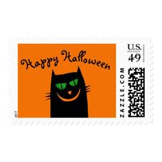 Halloween Funny Black Cat Green Eyes Postage Stamp - black gifts unique cool diy customize personalize