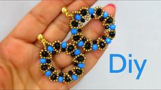 Tutorial # Tutorial – Earring with Crystals and Beads – Diy Costume Jewelry Seed Bead Earrings, Beaded Earrings, Earrings Handmade, Handmade Jewelry, Beaded Bracelets, Bead Jewellery, Diy Jewelry, Jewelry Making, Beaded Jewelry Patterns