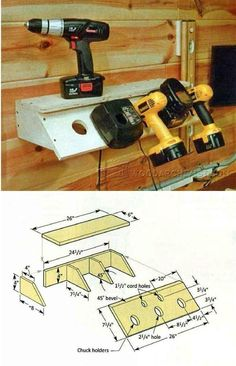 Cordless Drill Charging Station Plans - Workshop Solutions Plans, Tips and Tricks - Woodwork, Woodworking, Woodworking Tips, Woodworking Techniques Workshop Design, Workshop Storage, Workshop Organization, Shed Storage, Wall Storage, Workshop Ideas, Garage Storage, Beginner Woodworking Projects, Diy Woodworking