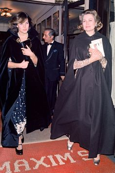 Princess Grace and her daughter, Princess Caroline, following dinner together, 1975