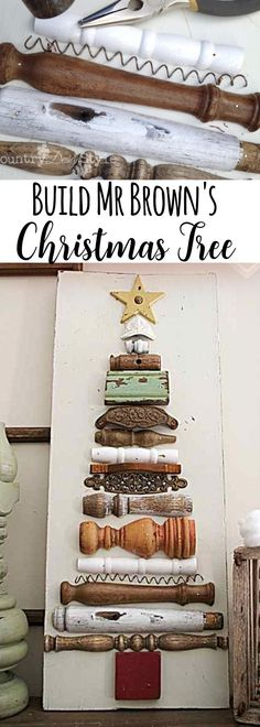 Gather old junk and make a Christmas Tree on an old board. Great for adding farmhouse style to your Christmas. | Country Design Style | countrydesignstyle.com #FarmhouseChristmasDecor