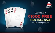 Looking to start your Rummy Game with a Welcome Bonus Get up to Rs as a Welcome Bonus with your first deposit at Classic Rummy. Real Player, Instant Cash, Free Cash, Free Games, Card Games, Playing Cards, Indian, Flat