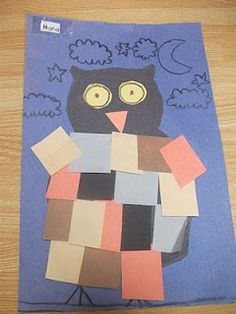 Preschool Crafts for Kids*: Halloween Owl Collage Paper Craft