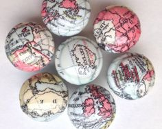 """World map decorated wooden drawer knobs 6 in this set; 1 1/2"""" (6)"""