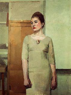 Portrait by English painter Euan Uglow via Good Art. L'art Du Portrait, Female Portrait, Female Art, Painting People, Figure Painting, Painting & Drawing, Dress Painting, Painting Portraits, Artist Painting