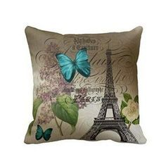 Hatop Blue Butterflies Paris Eiffel Tower Print Throw Pillow Case Cushion Cover Fashion Home Decorative Pillowcase Paris home décor is cute, trendy and adorable. In fact, it is perfect for anyone who has or wants to visit Pairs. Paris themed home décor is really trendy and popular all over the world. For this reason, I really love Paris wall art, Eiffel Tower bedding not to mention other cute Parisian decorative accents. Any room of your home living room, bedroom, kitchen, and even bathro