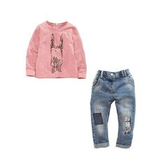 Outfits & Sets!2Pcs Toddler Kids Baby Girls Pink Long Sleeve Coat+Jeans Clothes #Unbranded #DressyEverydayHoliday