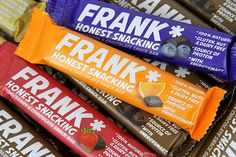 FRANK* bars taste really good. Which you don't always expect from a health bar. Duly inspired, we created a brand that's impossible to ignore. The rich, bold colours shout loud about the indulgent, nourishing taste, and the 'Honest snacking' tagline and a…