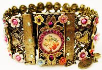 Michal Negrin Vintage Style Multicolor Flowers Cameo Crystals Lace Bracelet