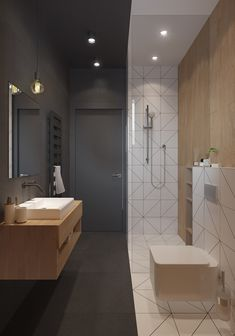 Are you looking for some minimalist bathroom ideas? Well, you are on the right page then. Here we have several pictures of minimalist bathroom decor ideas you try. No matter how big or small your bathroom is, decorating this room… Continue Reading → Modern Bathroom Design, Bathroom Interior Design, Modern House Design, Bathroom Designs, Interior Ideas, Modern Houses, Bath Design, Tile Design, Interior Paint