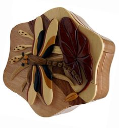 Dragonfly Wooden Intarsia Puzzle Box Crafted from Beachwood Woodworking Box, Woodworking Techniques, Custom Gift Boxes, Customized Gifts, Hidden Key, Dragonfly Necklace, Rare Earth Magnets, Puzzle Box, Mothers Love