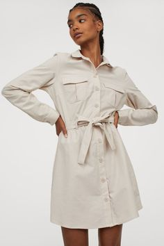 Cotton Utility Dress - Light beige - Ladies | H&M US 1