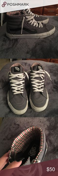 126ec23560 grey hightop vans grey and black womens hightop vans only worn once cute  stripped pattern on the inside great condition now hard to find Vans Shoes  Sneakers