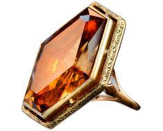 1930-40s Late Art Deco Massive Hexagonal Citrine Ring, 14K Gold