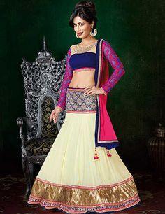 Chitrangada Singh beige georgette designer semi stitch lehenga choli Product Code: G3-WLC0769 Price: ₹ 5,495.00