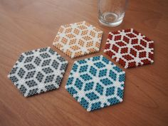 Items similar to Classy handmade coasters. Set of FREE UK DELIVERY on Etsy coasters ideas Items similar to Perler Bead Designs, Easy Perler Bead Patterns, Melty Bead Patterns, Hama Beads Design, Beading Patterns, Hama Beads Coasters, Diy Perler Beads, Perler Bead Art, Pearl Crafts