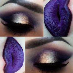 Love the gold with purple and dark purple lips