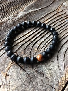 Black Onyx Beaded Bracelet Men's Black Bracelet Unisex Black Beaded Stretch Bracelet