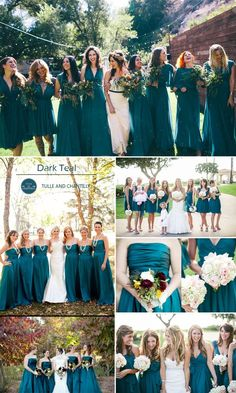 dark teal fall wedding color ideas and bridesmaid dresses trends