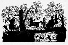 Wonderful black and white silhouette of a sleigh ride.